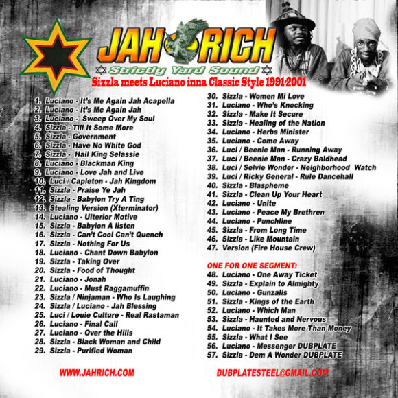 Sizzla meets Luciano inna Classic Style 1991 - 2001 track list yardhype